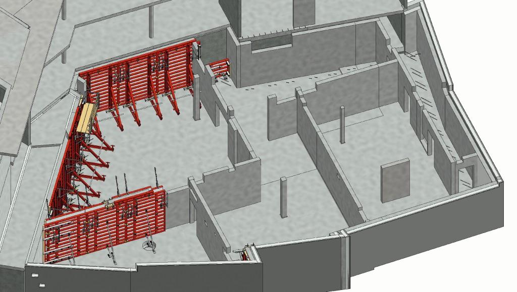 Im digitalen Schalungsmodell werden die einzelnen Takte separat dargestellt, das vereinfacht die Anwendung. Abb.: MEVA