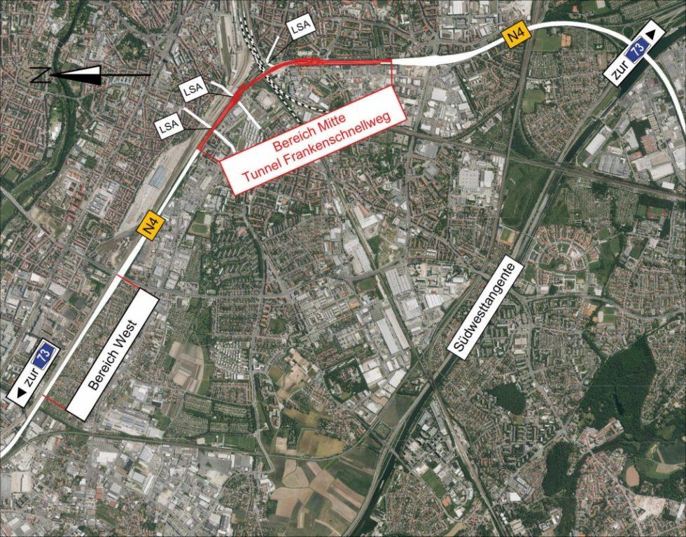 Das Projekt Frankenschnellweg umfasst einen 1810 Meter langen Tunnel. Abb.: Sweco GmbH