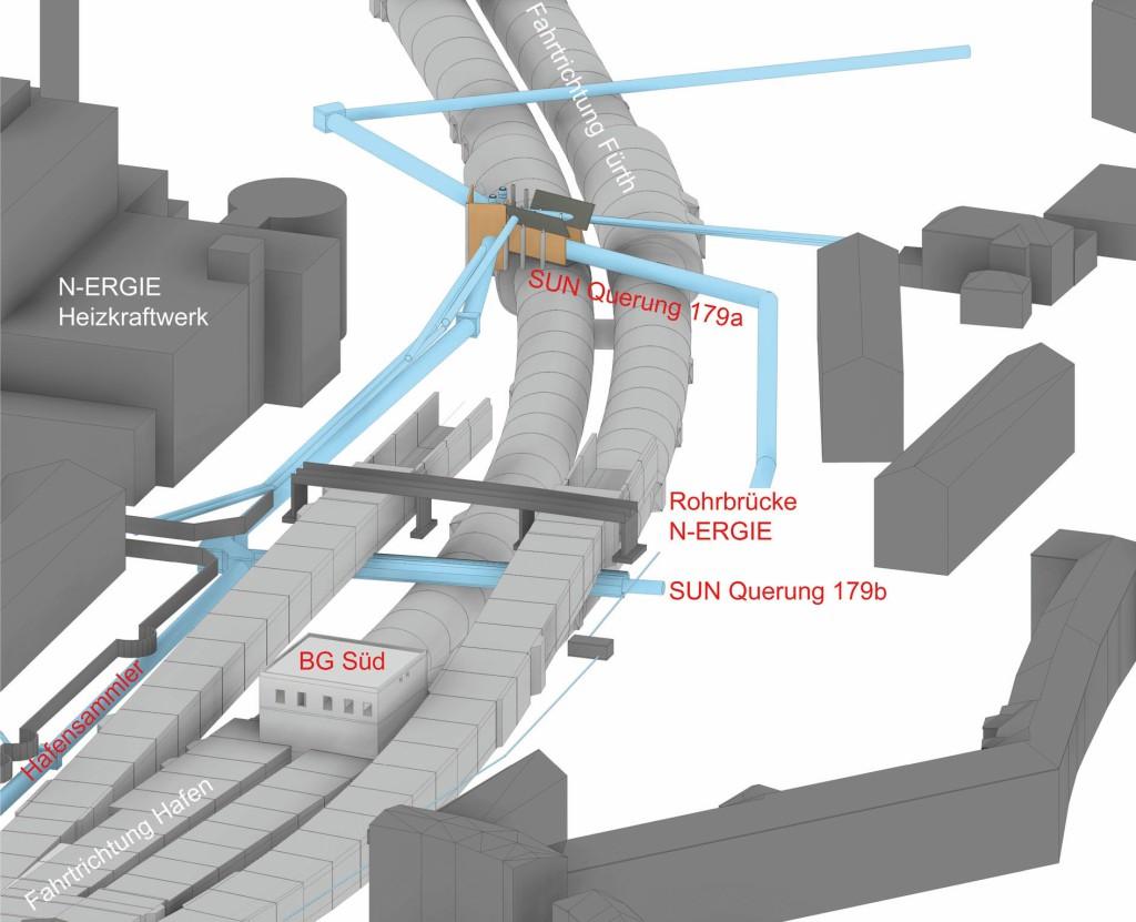 Beim Tunnel mussten die Zwangspunkte Hafensammler, Kanalquerung und Rohrbrücke berücksichtigt werden. Abb.: Sweco GmbH