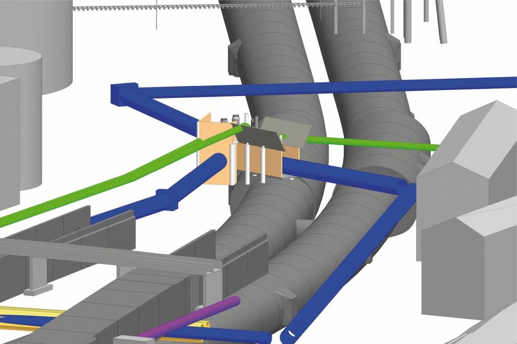 Für die Trassenführung wurde eine Kollisionsprüfung der Baugrube, Sammler, Gasleitung und Tunnel durchgeführt. Abb.: Sweco GmbH