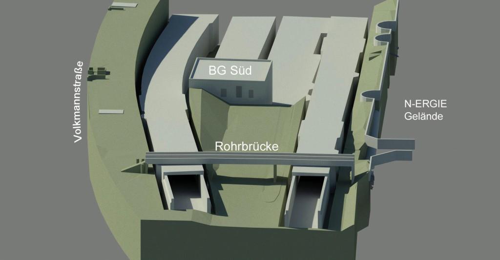 Die Bestandsoberfläche liegt im Bereich der alten Lage des FSW tiefer als das umgebende Gelände. Abb.: Sweco GmbH