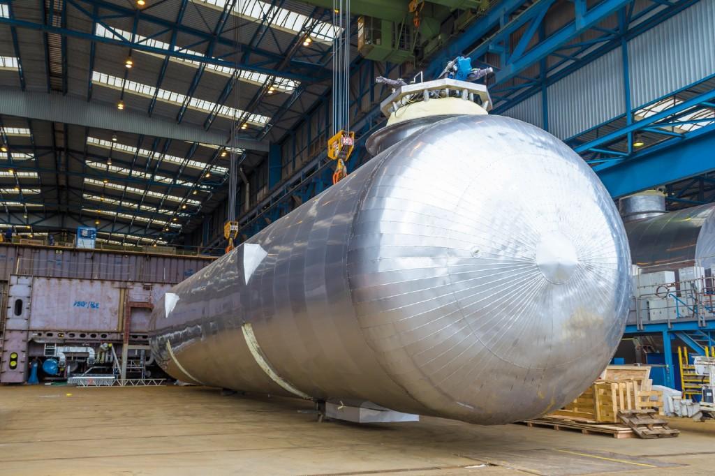 LNG-Flüssiggastanks nehmen zweieinhalb Mal so viel Platz ein wie herkömmliche Dieseltanks. Bild: Meyer Werft