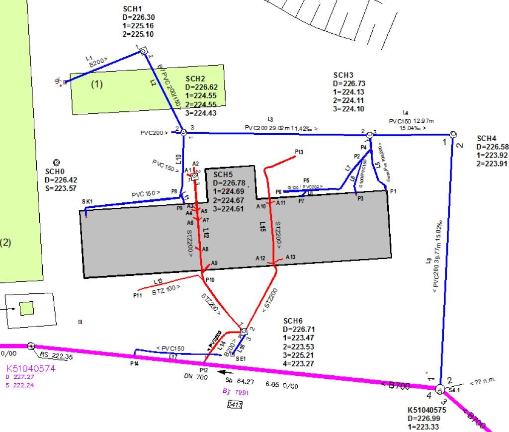 """Die Anschlusskanäle eines zwölfstöckigen Gebäudes wurden ausgehend vom Kanalisationskanal DN 700 erfasst und danach saniert. Schmutzwasserleitungen sind rot, Regenwasserleitungen blau markiert. Die Leitung L17 ist """"tot"""", und wäre Basis für Ratten-Nester. Bild: Hans + Partner"""