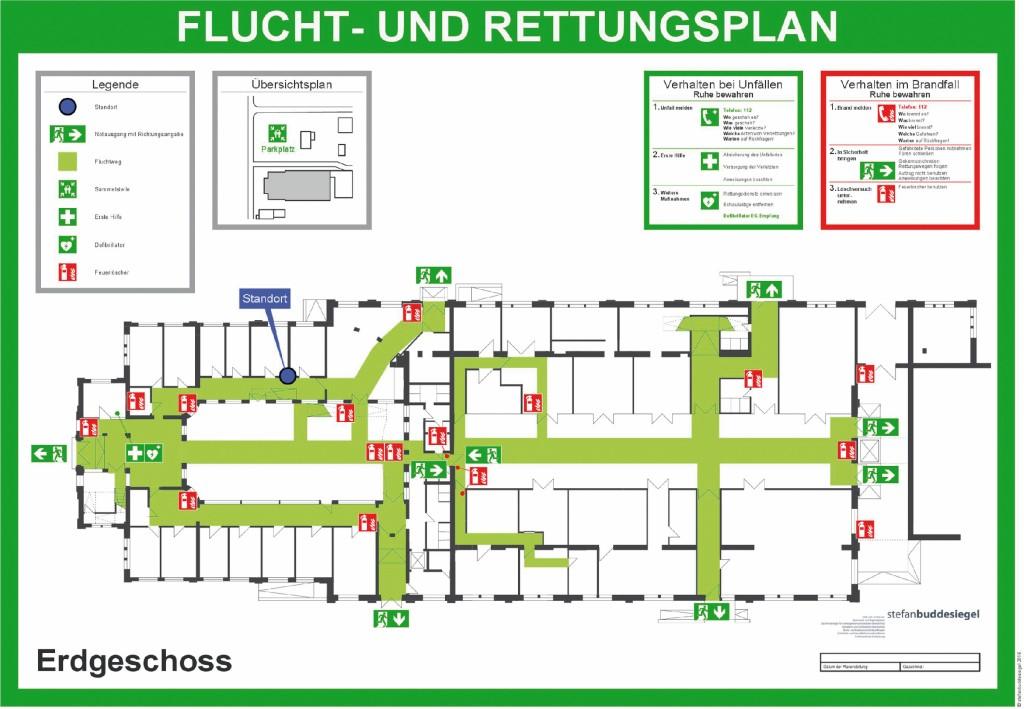 Flucht- und Rettungsplan nach ASR A2.3 [4], Deutsches Patent- und Markenamt, Dokumenten-Referenz-Nummer (DRN): 20150812101980100DE. Bild: Budde-Siegel