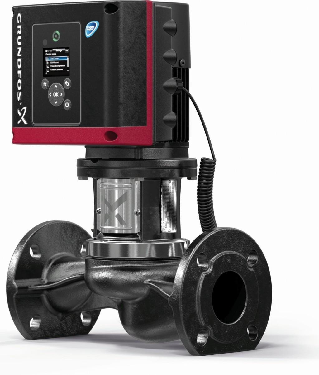 Die TPE3 – eine Inline-Pumpe mit einer beeindruckenden energetischen und hydraulischen Effizienz sowie integrierter Wärmemengenerfassung und Förderstrombegrenzung. Bild: Grundfos