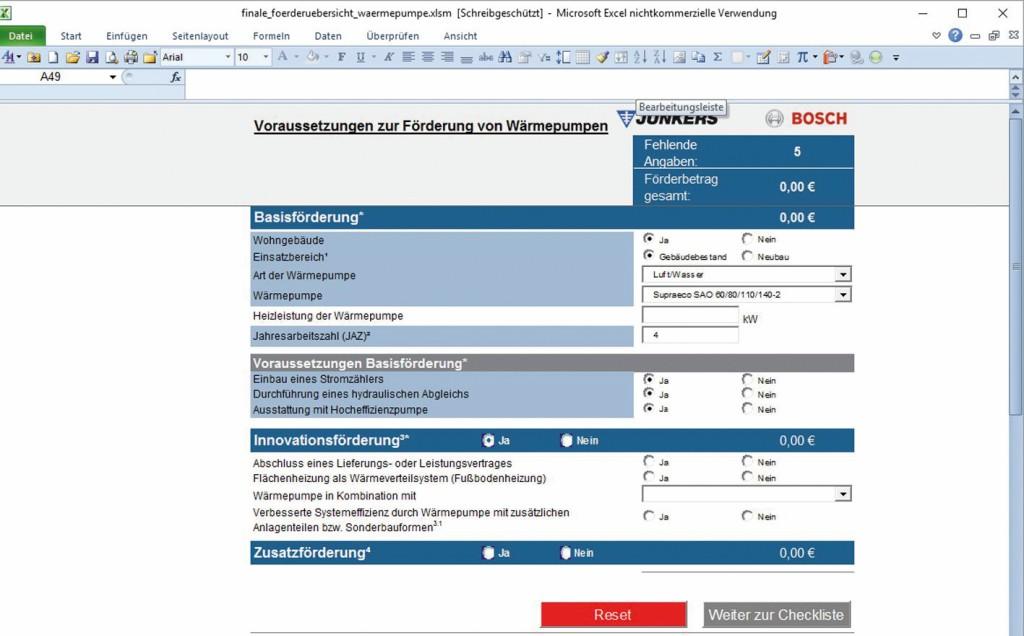 Berechnung der Förderungsmöglichkeiten von Wärmepumpen. Bild: Bosch/Junkers