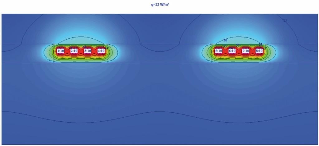Wärmeabgabe von Heizkörperanschluss-Rohrleitung mit Kompaktdämmhülsen (qh = 33 W/m² für (tV/tR/ti = 55 °C/45 °C/20 °C)). Bild: Missel