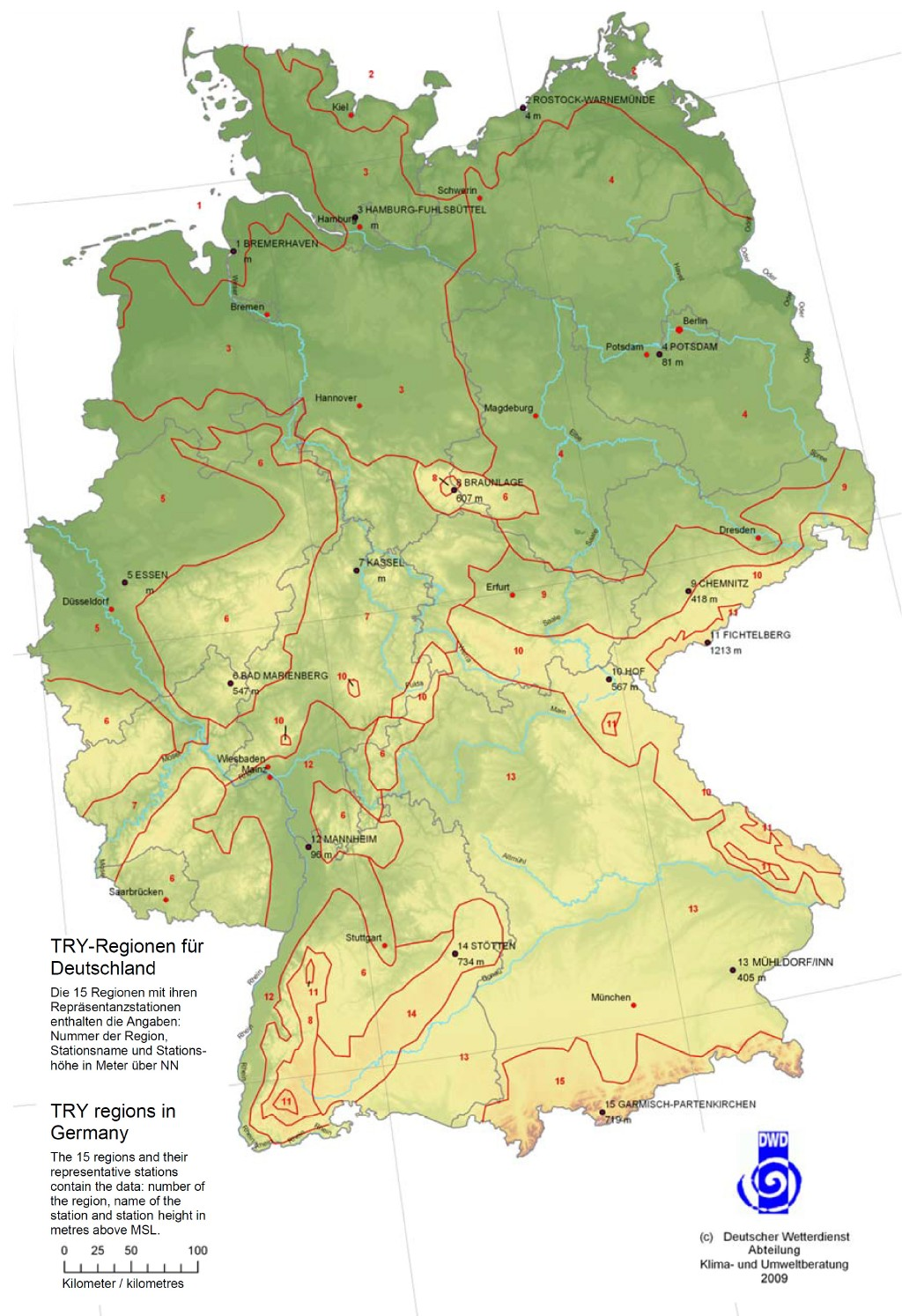 Einteilung der Bundesrepublik Deutschland in 15 Klimazonen für die Belange der Heiz- und Raumlufttechnik (Zonenkarte). Bild: VDI 4710–3 (2011)