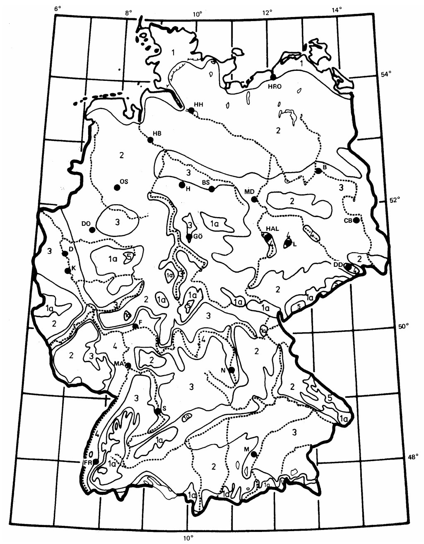 Einteilung der Bundesrepublik Deutschland in vier Klimazonen für die Kühllastberechnung. Bild: VDI 2078 (1996)