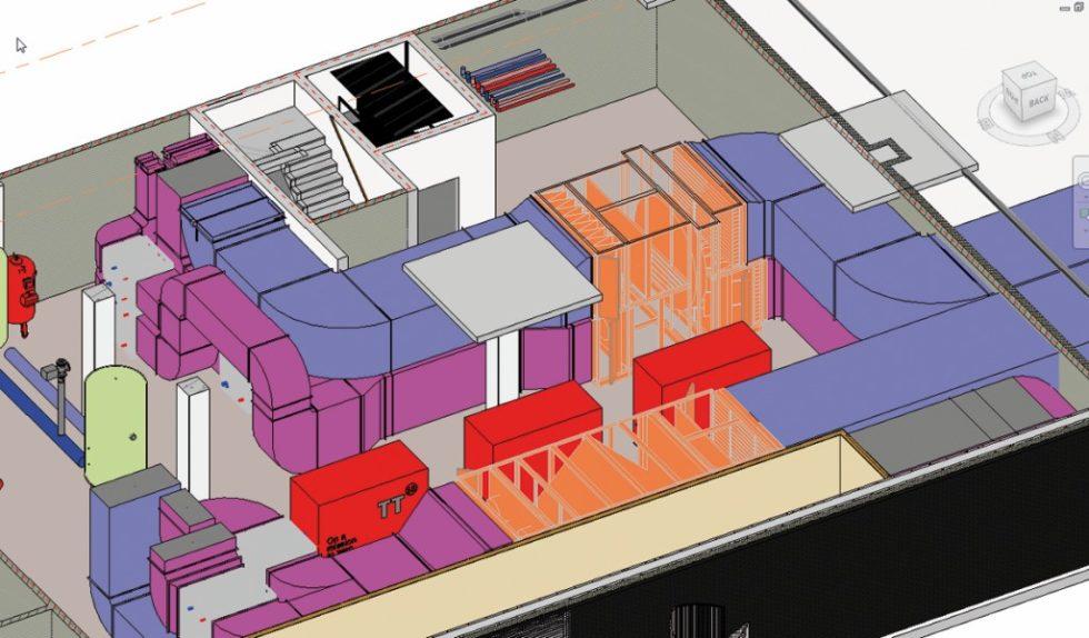 Immer weniger Platz für immer komplexere raumlufttechnische Anlagen. Die BIM-Planungsmethode beschleunigt nicht nur den Planungsprozess, sie schützt den TGA-Planer auch vor unliebsamen Überraschungen, wie Kollisionen mit Bauwerken und Fremdgewerken. Bild: Linthorst Techniek