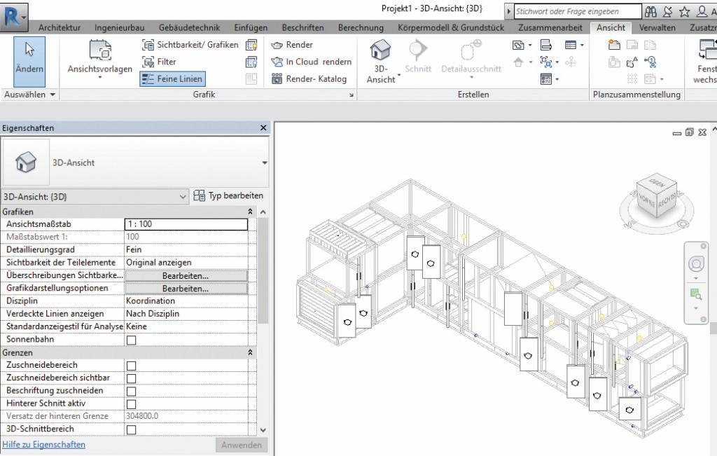 """BIM-Planung eines RLT-Eckgerätes mit Detaillierungsgrad """"fein"""". Deutlich zu sehen sind die einzelnen Funktionsmodule, Türanschläge und Anschlusspunkte für Leitungen. Auch Störflächen für Wartungs- und Austauscharbeiten können in 3D dargestellt werden. Bild: Wolf GmbH"""