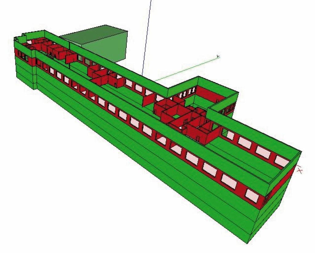 3D-Modell des Gebäudes (rot markiert das 2. OG. Bild: Eigene Darstellung mit Plancal Nova, Tim Meyer