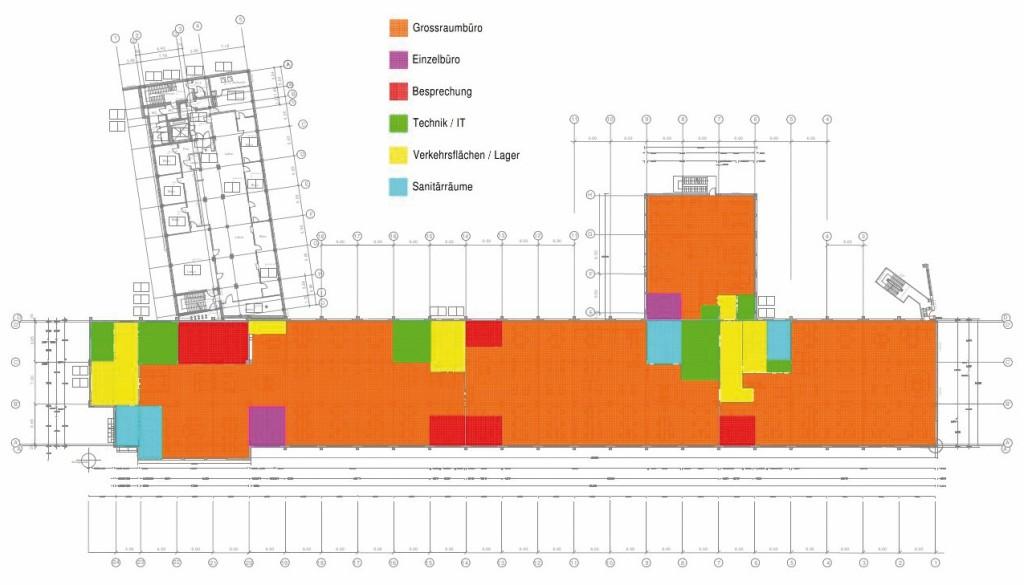 Nutzflächenaufteilung im 2. OG. Bild: Eigene Darstellung mit Plancal Nova, Tim Meyer