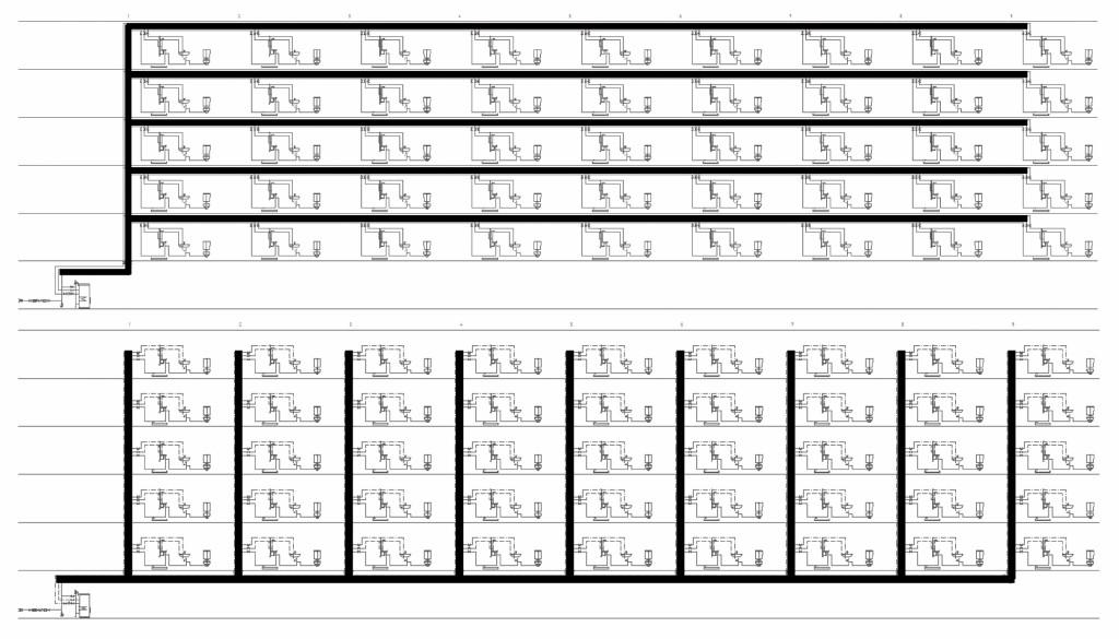 Prinzipdarstellungen von Trinkwasserinstallationen mit überwiegend horizontal bzw. vertikal verlaufenden Hauptverteilungsleitungen. Bild: FH Münster/ Gebr. Kemper
