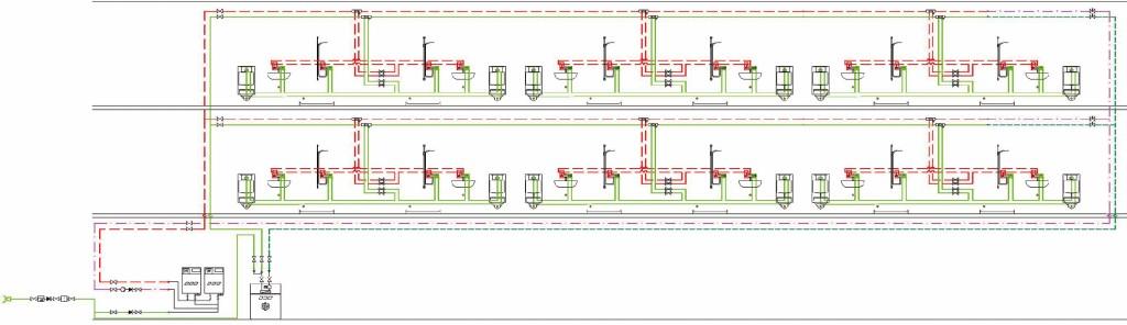 Schema einer Strömungsteiler-Installation mit Kaltwasserkühlung für das kalte Trinkwasser. Bild: FH Münster/ Gebr. Kemper