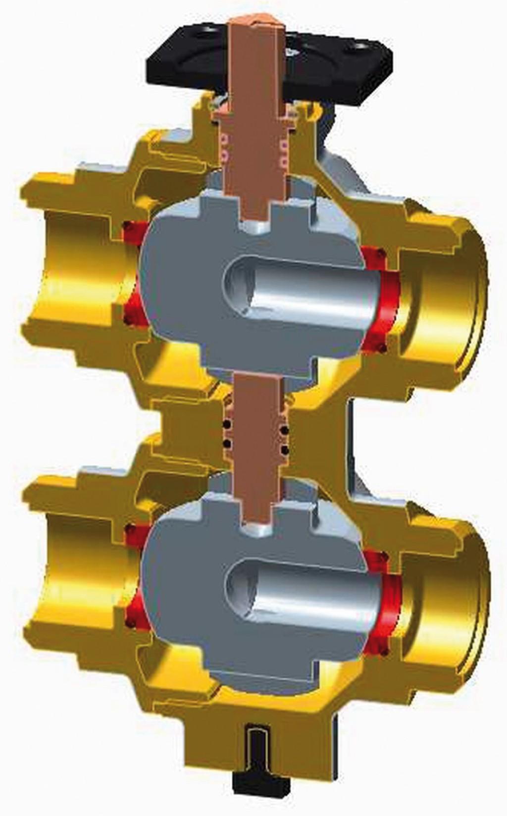 Das Ventil R274 besteht aus einer Spindel zum Öffnen und Schließen (braun), einem durch die Spindel betätigten Absperrelement (grau) mit reibungsarmen Dichtungen aus PTFE (rot) und einem Körper aus Pressmessing CW617N mit flachdichtender Überwurfanschlussverschraubung (gold). Am Ventil befindet sich auch eine Montageplatte für den Stellmotor (schwarz, oben). Mit Hilfe eines Innengewindes kann R274 zudem an Bau-/Trägerelementen fixiert werden (schwarz, unten). Bild: Giacomini GmbH