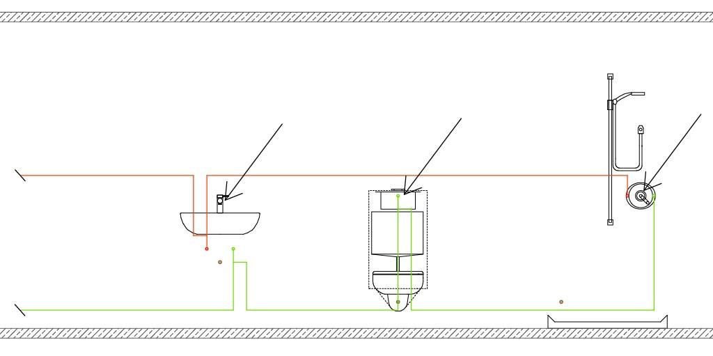Beispiel für die Lage der Sicherungspunkte an den einzelnen Entnahmestellen . Bild: DIN