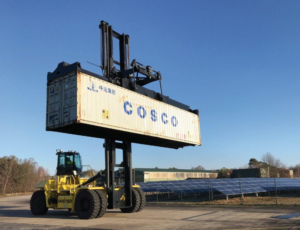 Der Elektro-Containerstapler mit Energierückgewinnungssystem von Hyster befindet sich zurzeit in der Entwicklung. Bild: Hyster