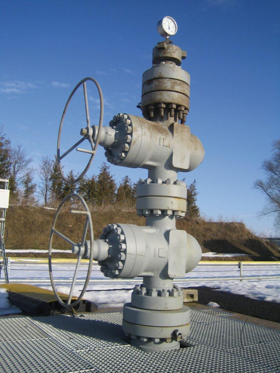 Der Kopf einer Probebohrung zur CO2-Injektion am Pilotstandort in Ketzin, Brandenburg, 40 km westlich von Berlin. Dies Pilotprojekt haben Mitarbeiter des GeoForschungsZentrums in Potsdam durchgeführt. Bild: BGR