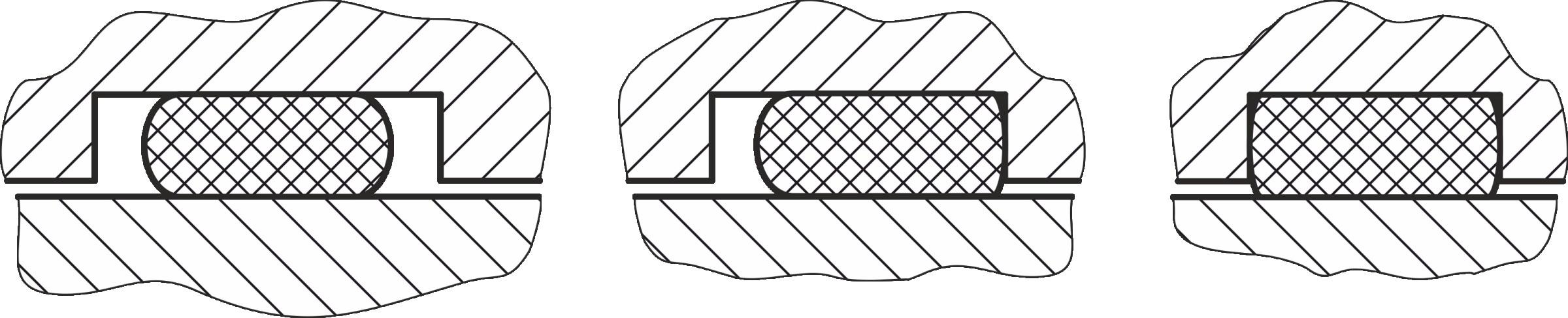 Bild 3 Unbehinderte (l.), einseitig (m.) und beidseitig (r.) behinderte Einbausituation. Bild: Verfasser