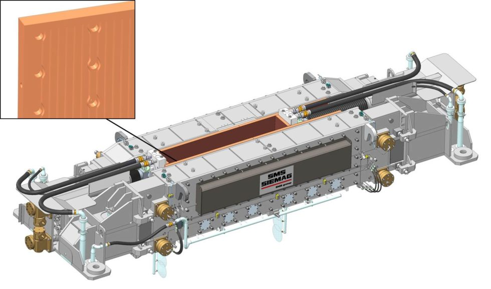 Bild 1: 3D-Modell einer Stranggießkokille mit Kupferplatten. (Bild: SMS Siemag)