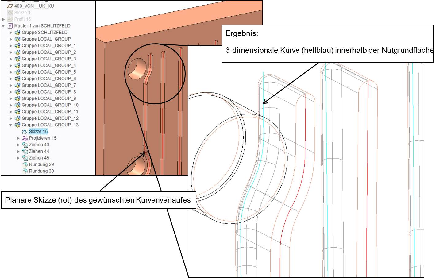 Bild 7: Nutverläufe und Projektion. (Bild: SMS Siemag)