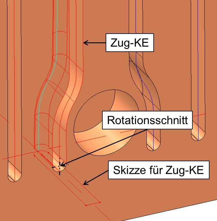 Bild 8: Zug-Konstruktionselement und Rotationsschnitt. (Bild: SMS Siemag)