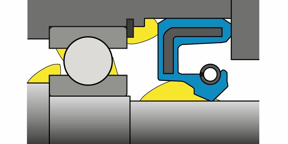 """Bild 3: """"Umgekehrt"""" eingebaute, bodenseitig befettete Radial-Wellendichtung. (Bild: IMA, Universität Stuttgart)"""