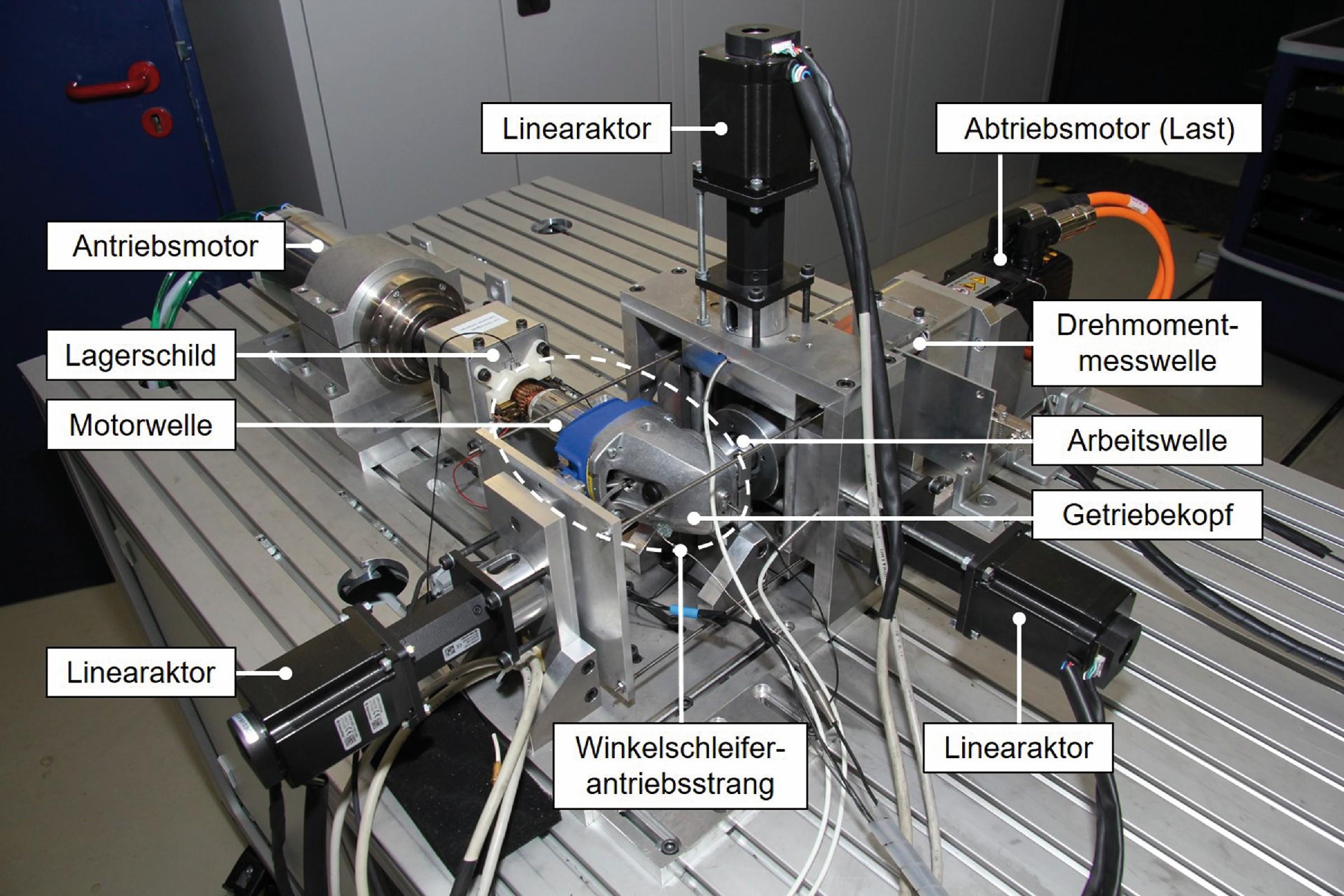 Bild 4: Mechanischer Aufbau des Teilsystementwicklungsprüfstands zur Untersuchung des Dynamikverhaltens eines Winkelschleiferantriebsstrangs. (Bild: Karlsruher Institut für Technologie KIT)