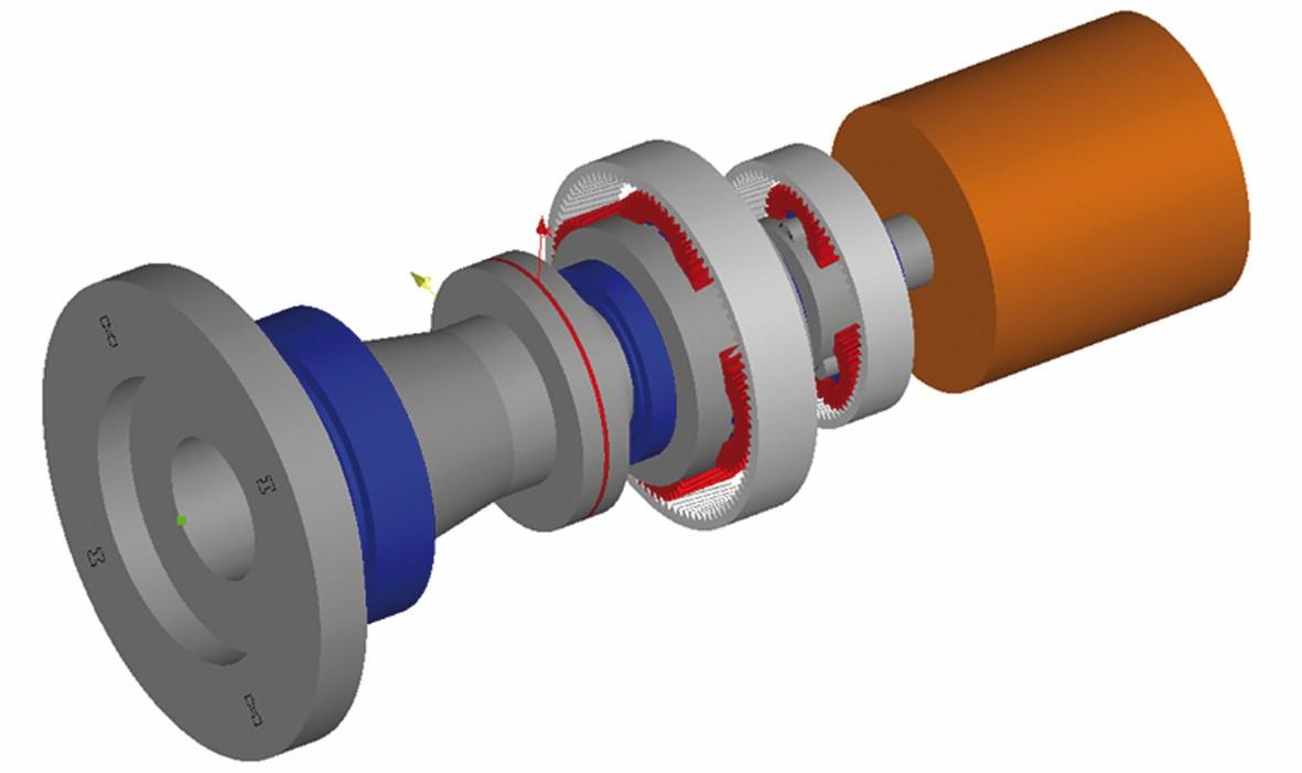 """Bild 2 Antriebsstrang bestehend aus Hauptwelle, Getriebe und Generator. Im Flansch rot dargestellt ist die """"Friction Shim"""". Bild: 3M"""