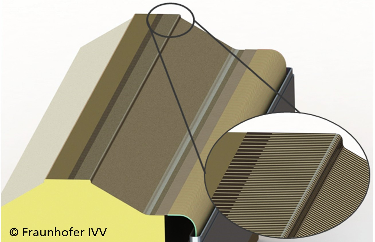 Bild 4: Konstruktiver Entwurf einer vollinstrumentierten Siegelschiene mit Sensorarray und Detailansicht der Sensoren auf der Siegelschienenoberfläche. Bild: Fraunhofer-Institute IWM/IVV