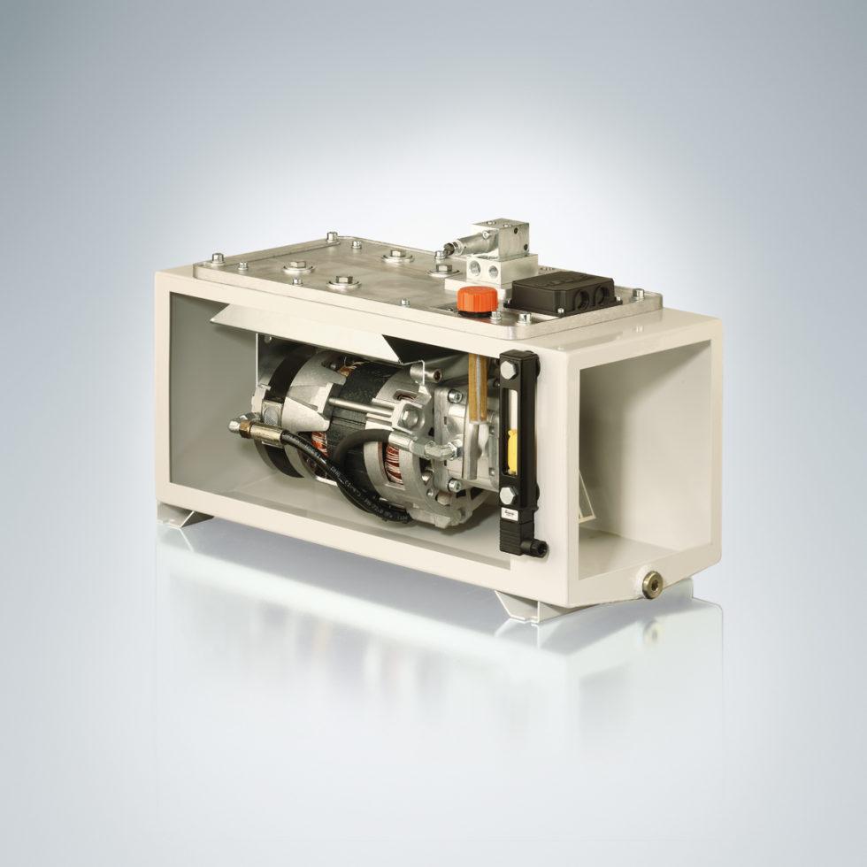 Schnittmodell des Kompakt-Aggregats Typ MPN, in der Öffnung ist der Elektromotor zu sehen. Bild: HAWE