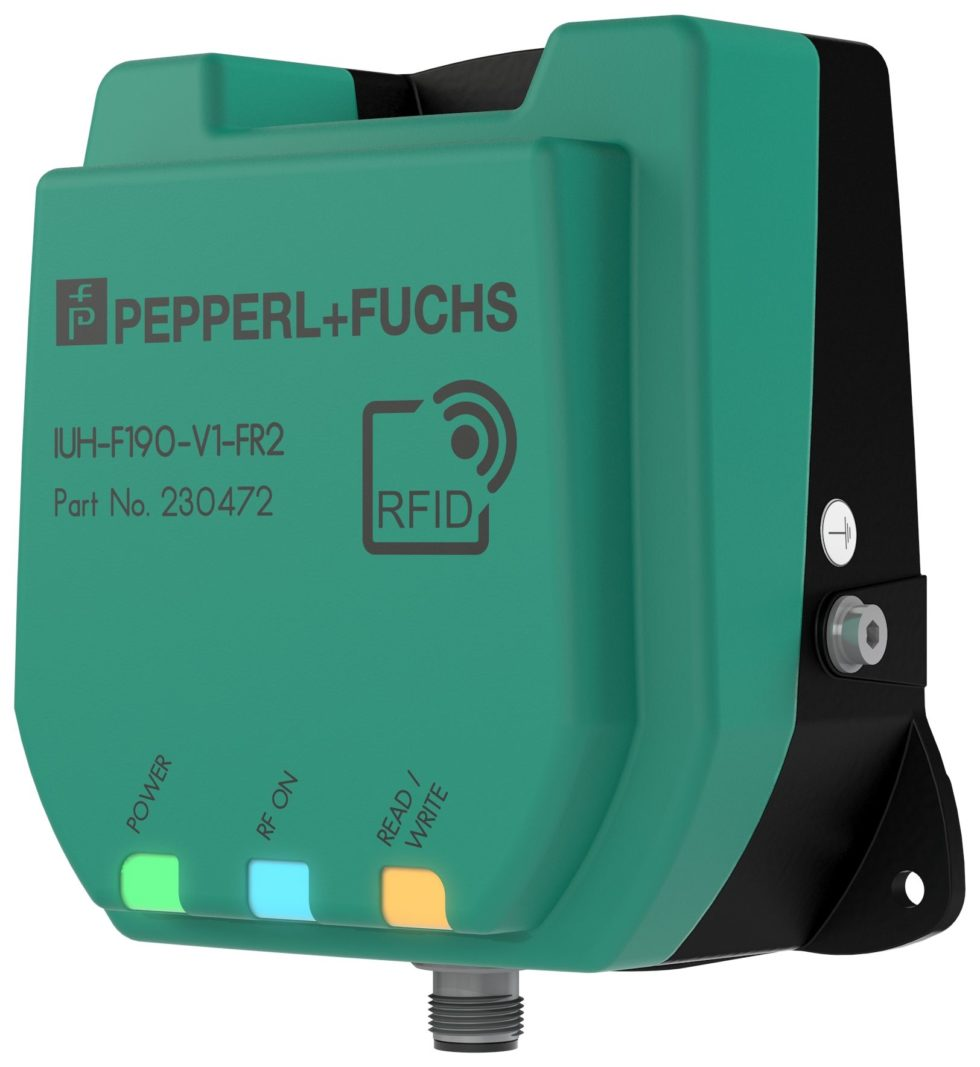 Bild  Die neu entwickelte Antenne des UHF-Readers F190 bietet eine erhöhte Sensitivität. Zusätzlich führt die schnelle Umschaltung zwischen vertikaler, horizontaler und zirkularer Polarisation zu einer erhöhten Leserate. Bild: Pepperl+Fuchs