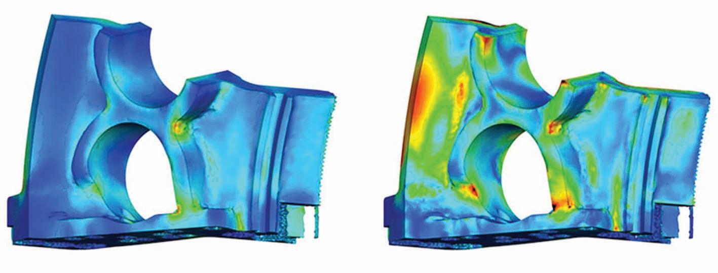 Bild 10 Statistische Analyse des resultierenden von Mises-Spannungsfeldes. Links: Mittelwert. Rechts: Standardabweichung. Bild: Siemens