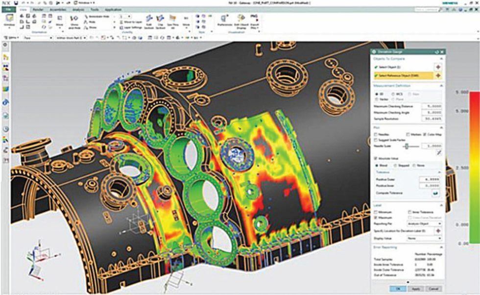 Nachbearbeitung der Laserscan-Daten in Siemens NX. Bild: Siemens