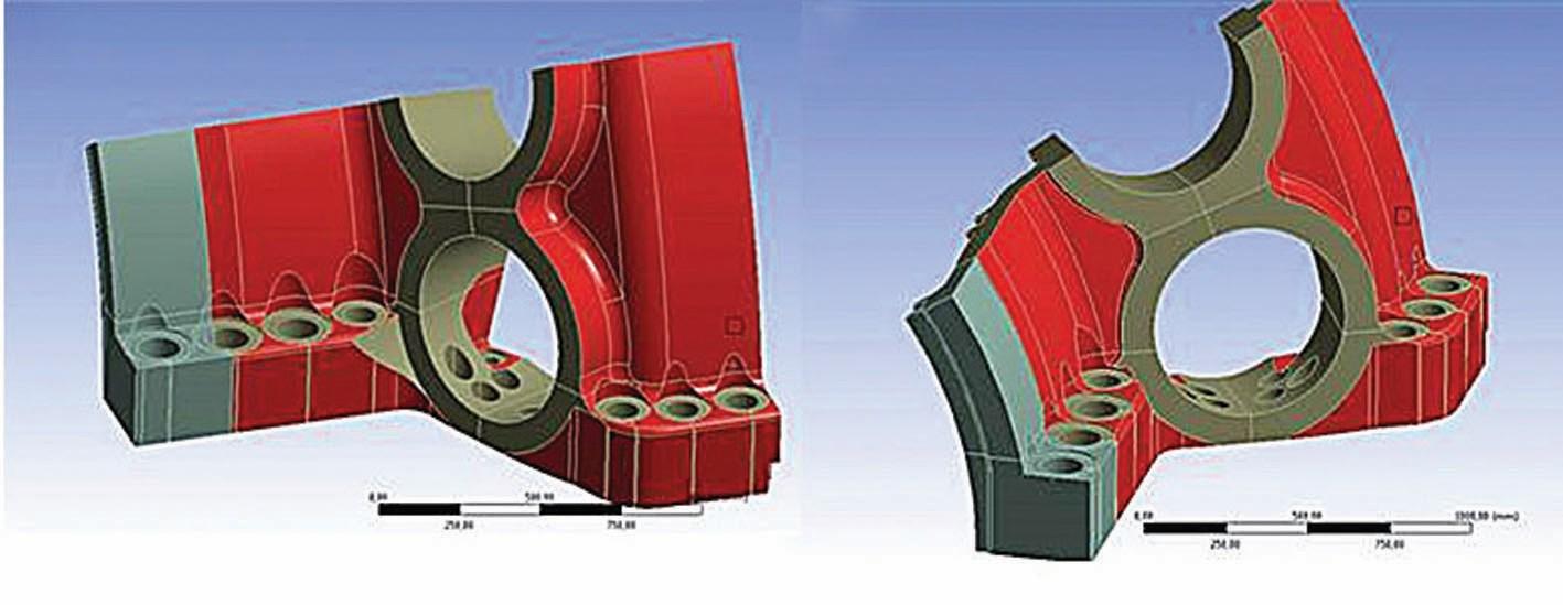 Bild 6 rot = zu variierende Oberflächenteile, grau = bearbeitete Oberflächenteile (fix). Bild: Siemens