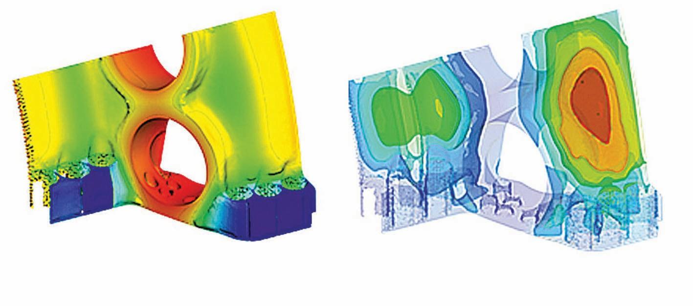 Bild 9 Statistische Analyse des resultierenden Temperaturfeldes. Links: Mittelwert, Rechts: Standardabweichung. Bild: Siemens