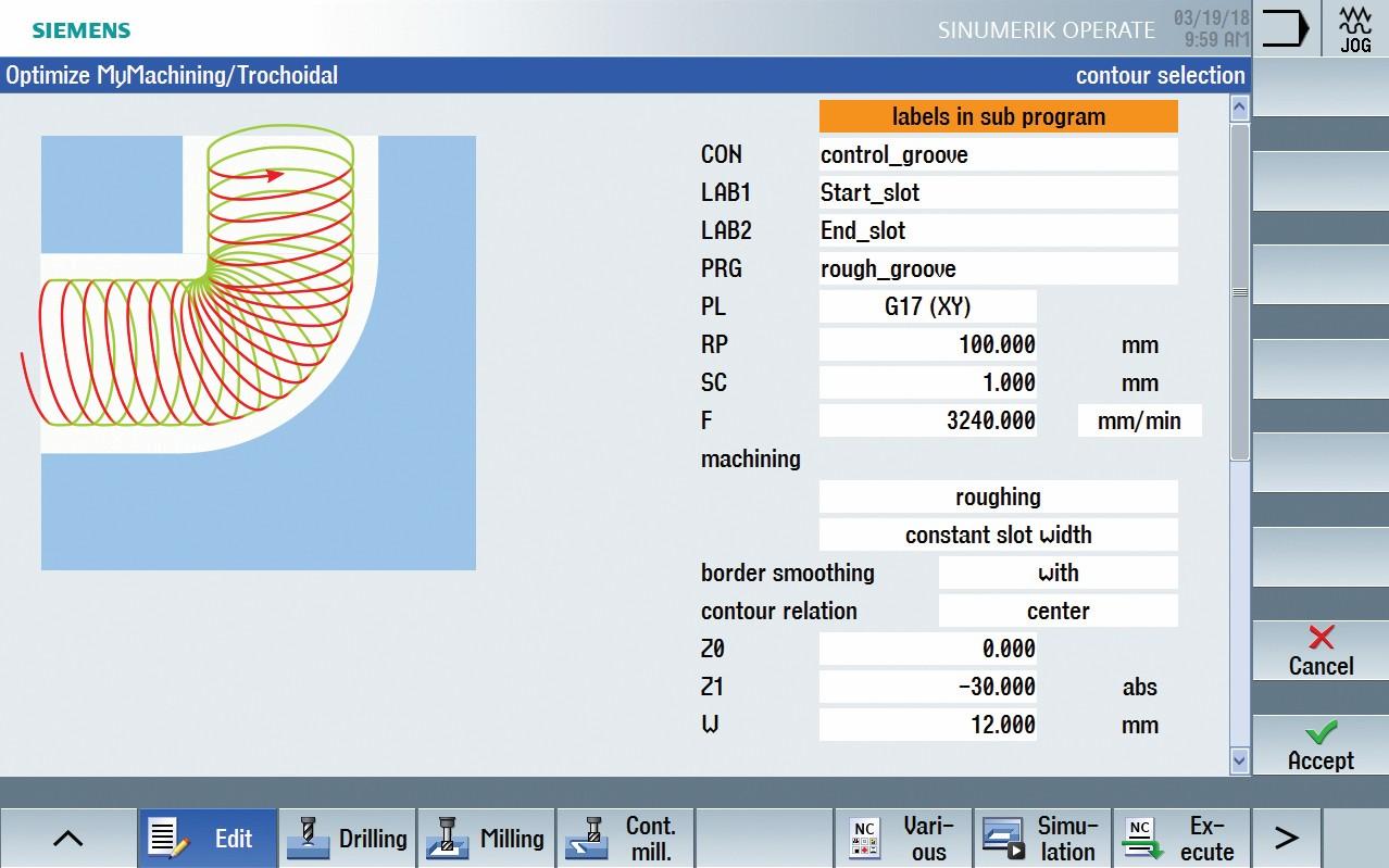 """Bild 3: Mit der Edge-Funktion """"Optimize MyMachining/Trochoidal"""" steht trochoidales Fräsen auch Anwendern ohne CAD/CAM-System zur Verfügung, direkt an der Maschine. Die Konturprogrammierung erfolgt dabei wie gewohnt über den Kontureditor oder DXF-Input. (Bild: Siemens)"""