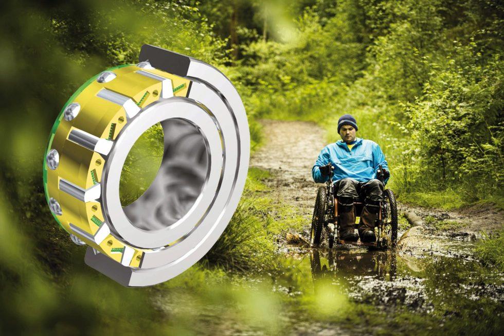 """Bild 1: Anstelle eines herkömmlichen Fahrrad-Sperrklinkenfreilaufs wählte der Entwickler des """"Mountain Trike"""" einen Klemmkörperfreilauf für die Übertragung der Energie auf die Räder – aus guten Gründen. (Bild: Stieber)"""