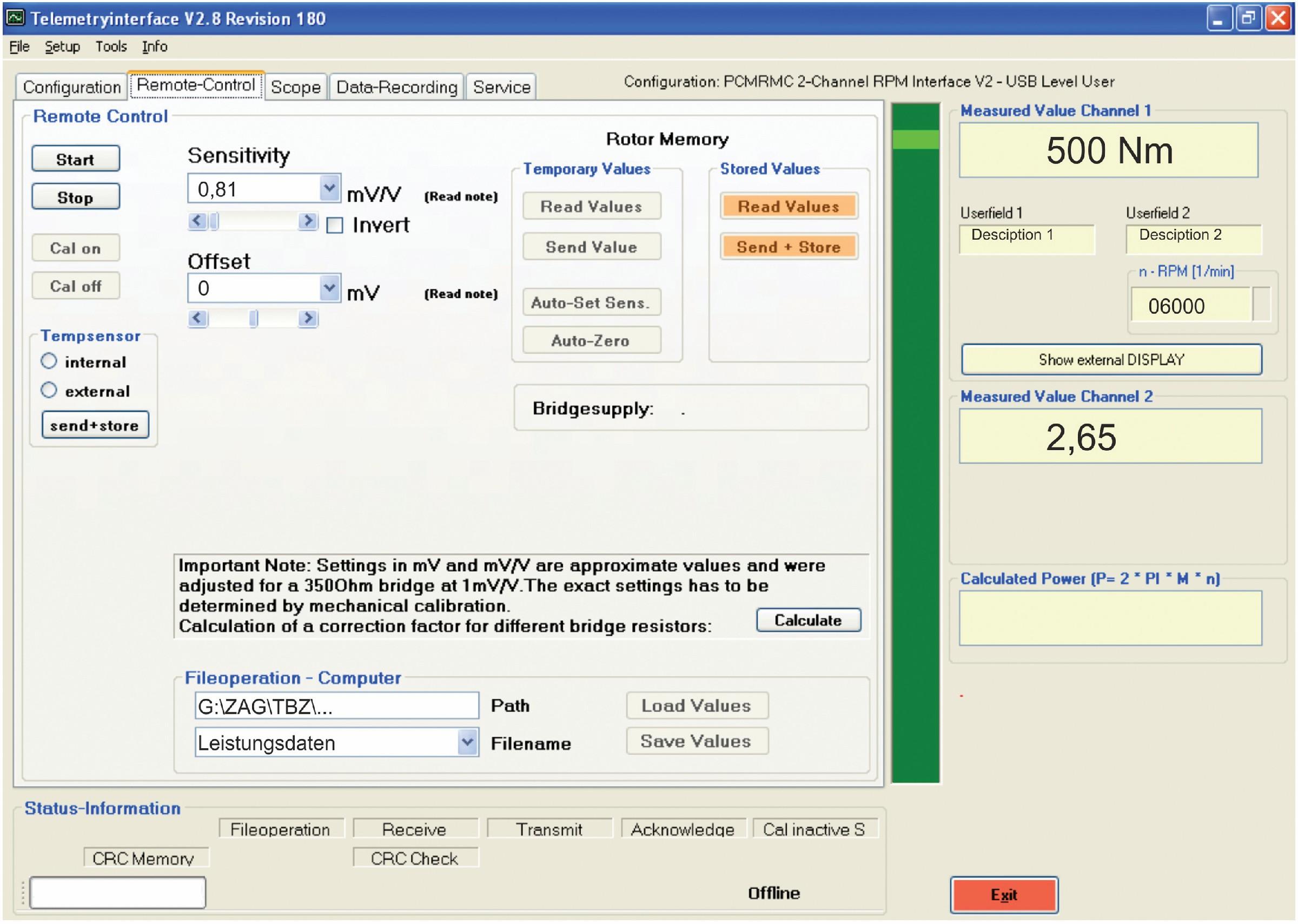 Bild 4 Messkettenkonfigurierung mittels RMC-Software von Manner. Bild: ZAE