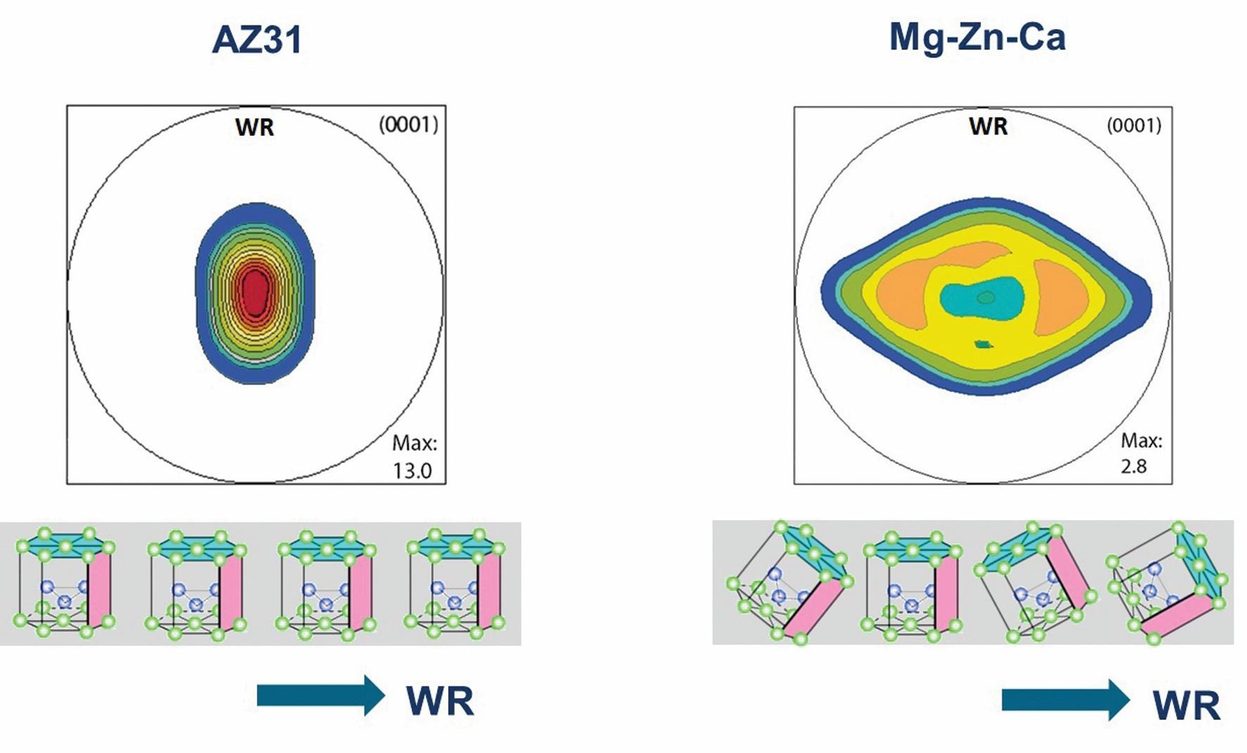 Bild 2: Texturvergleich der konventionellen Legierung AZ31 (links) mit der neuen Mg-Zn-Ca-Legierung (rechts). Die Texturabschwächung führt bei der Mg-Zn-Ca-Legierung zu einem Drehen der basalen Ebenen (türkis) aus der Blechebene (WR: Walzrichtung). Dies steigert das Umformvermögen. Bild: Volkswagen AG