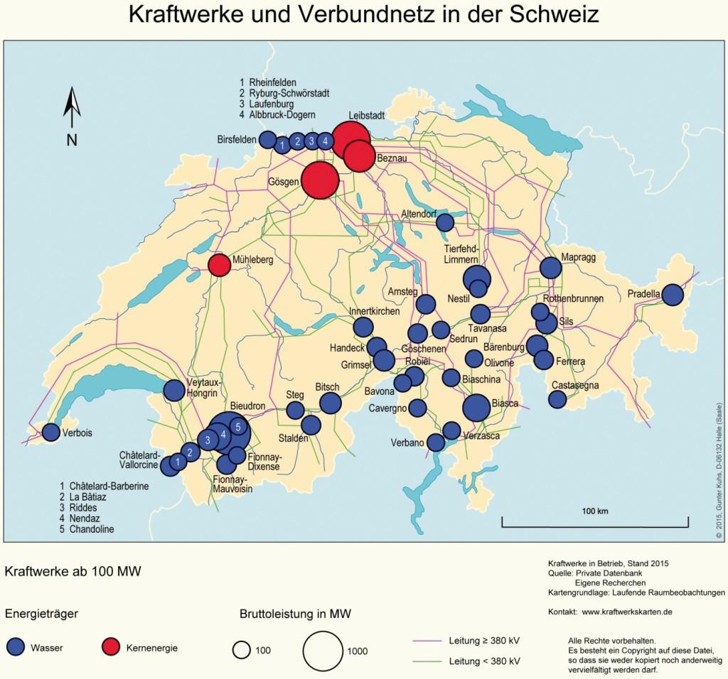 Bild 12 Kraftwerke und Verbundnetz in der Schweiz. Bild: eigene Darstellung