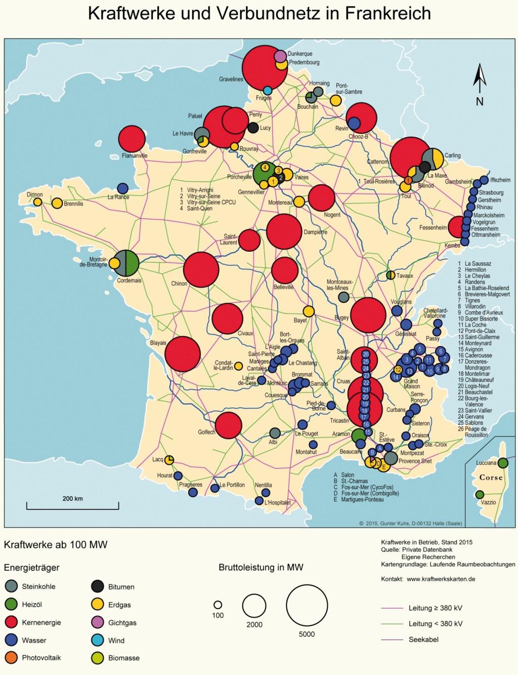 Bild 15 Kraftwerke und Verbundnetz in Frankreich. Bild: eigene Darstellung