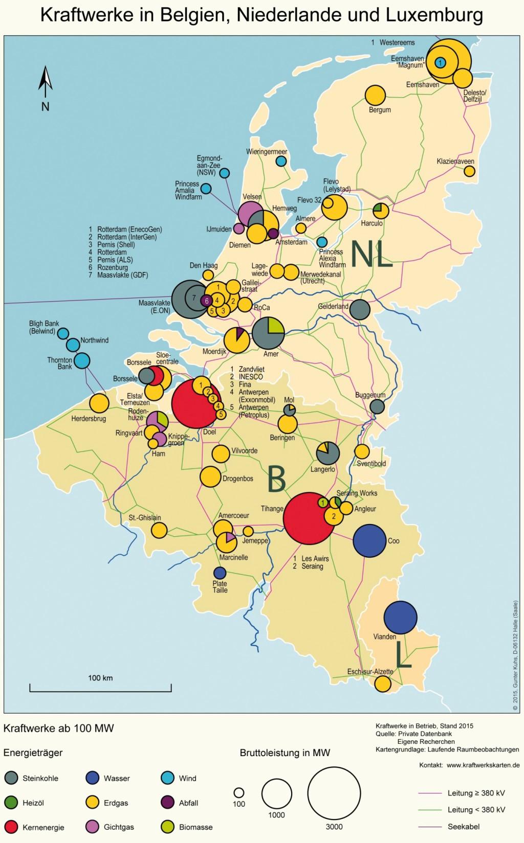 Bild 18 Kraftwerke in Belgien, den Niederlanden und Luxemburg. Bild: eigene Darstellung