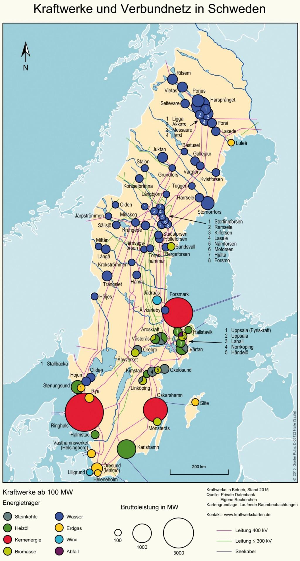 Bild 26 Kraftwerke und Verbundnetz in Schweden. Bild: eigene Darstellung