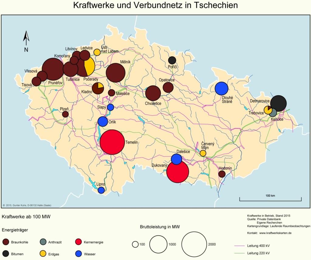 Bild 6 Kraftwerke und Verbundnetz in Tschechien. Bild: eigene Darstellung