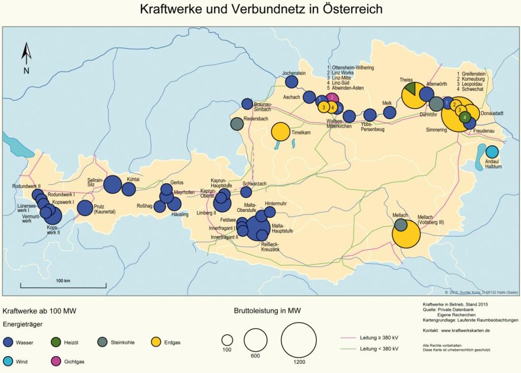 Bild 9 Kraftwerke und Verbundnetz in Österreich. Bild: eigene Darstellung