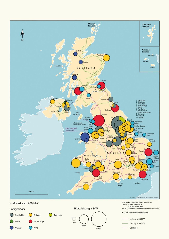Kraftwerke und Verbundnetz im Vereinigten Königreich. Bild: eigene Darstellung