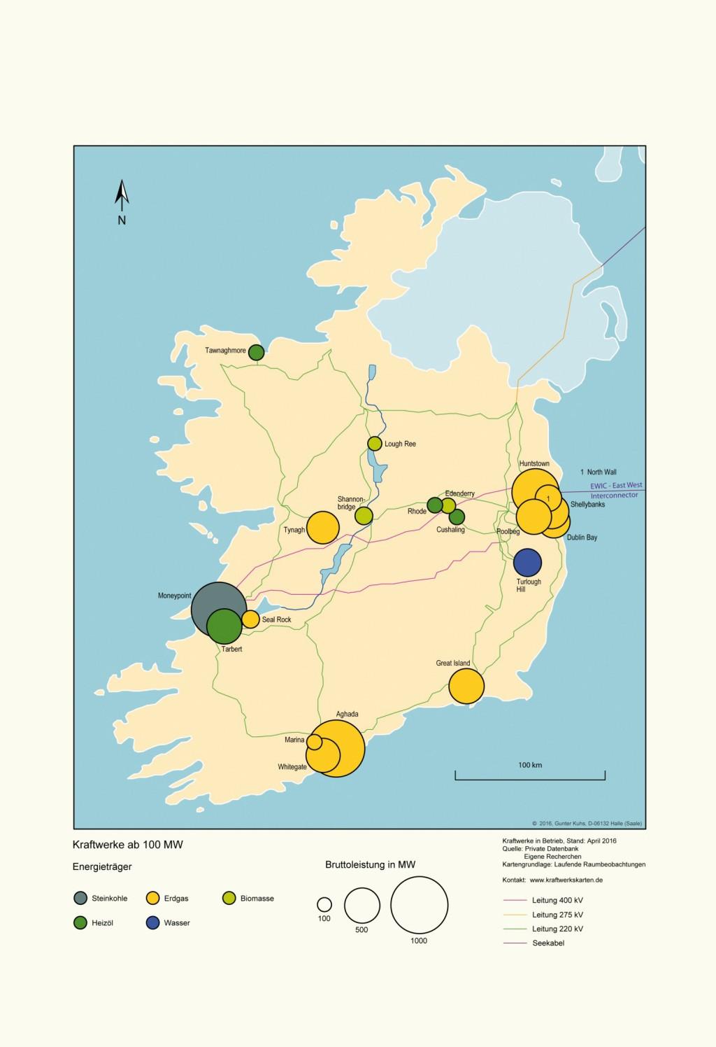 Kraftwerke und Verbundnetz in Irland. Bild: eigene Darstellung