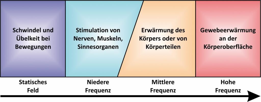 Bild 1 Negative Auswirkungen von EMF auf den menschlichen Organismus in Abhängigkeit der Frequenz. Quelle: Narda